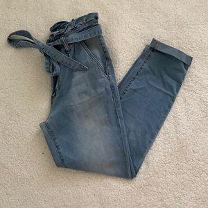 Ashley Mason Super High Waist Ruffle Jeans
